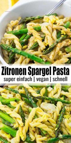Pasta mit Spargel in Zitronensauce - #onepotpastarecettes - Pasta mit Spargel könnte ich einfach jeden Tag essen! Dieses Rezept für Pasta mit grünem Spargel in Zitronensauce ist nicht nur super einfach, sondern auch sooo lecker! Und noch dazu ist es ein One Pot Rezept. Perfekt, um den Frühling willkommen zu heißen!... Asparagus Pasta, Lemon Asparagus, Evening Meals, Vegan Dinners, Vegetarian Recipes, Vegan Vegetarian, Whole30 Recipes, Baking Recipes, Cookie Recipes