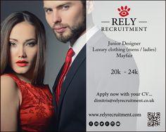 Junior Designer Luxury Fashion Head Office: Mayfair £20,000 - £24,000 Apply now with CV dimitris@relyrecruitment.co.uk  #Fashiondesigner #JuniorDesigner #AssistantDesigner #FashioDesign @Fashiondesigner @JuniorDesigner @AssistantDesigner @FashioDesign