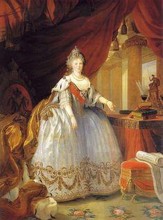 Empress Maria Feodorovna - 1799 Elisabeth Louise Vigee Le Brun ~ see this painting in situ at the Peterhof Palace http://www.batguano.com/peterhofbluesalon.jpg
