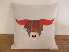 funky highland cow cushion can be made to specification