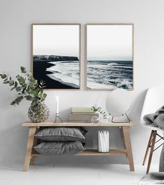 Coastal Set Print, Coastal Wall Art, Ocean Black and White, Ocean Wall Art, Scandinavian Print, Land