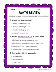 FREE Reading and Writing Numbers in Expanded Form, Standard Form and Written Form  -  (Including a Personal Word Wall) - The Teacher Treasury