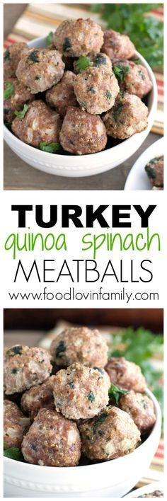 Turkey quinoa and spinach meatballs | These are great served with pasta, spaghetti squash or as an appetizer. |meatball| Quinoa http://www.foodlovinfamily.com/turkey-quinoa-and-spinach-meatballs/