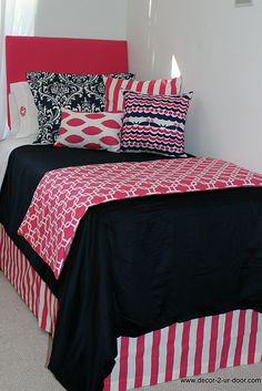Nautical Navy & Preppy Pink Designer Teen & Dorm Bed in a Bag