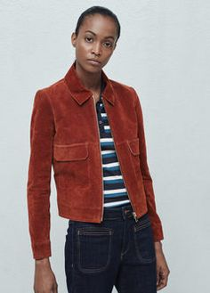 Flap-pocket suede jacket - mango - 499kr