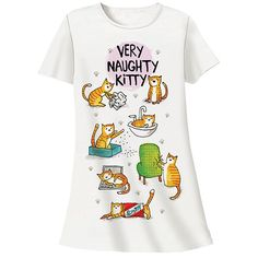 Naughty Kitty Sleep Shirt at Bas Bleu | UK1602