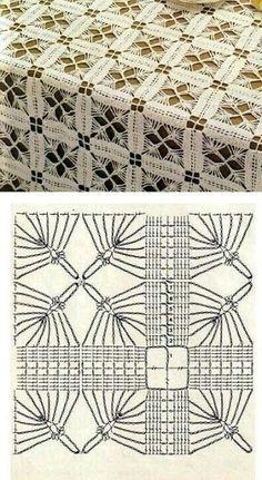"""Истинная красота!"", - вяжем из мотивов крючком   Вязание, рукоделие, хобби   Яндекс Дзен Crochet Shawl Diagram, Crochet Motif Patterns, Crochet Blocks, Crochet Chart, Crochet Squares, Filet Crochet, Crochet Designs, Crochet Bedspread, Crochet Tablecloth"