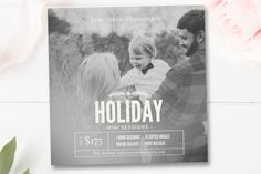 Holiday Mini Session Template, Christmas Minis + FREE matching Facebook Cover, Photography Template, By Stephanie Design
