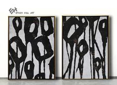 Set of 2 Flower Painting Large Canvas Wall Art Set of 2 image 1 Abstract Animal Art, Abstract Tree Painting, Large Painting, Black And White Painting, Black White, Zebra Art, Large Canvas Wall Art, Wall Art Sets, Animal Paintings