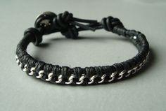 Leather Wrap Bracelet - Silver Cable Chain - Filigree Clasp - Single 1x Wrap - Arm Party - Womens Black Leather Bracelet. $7.50, via Etsy.