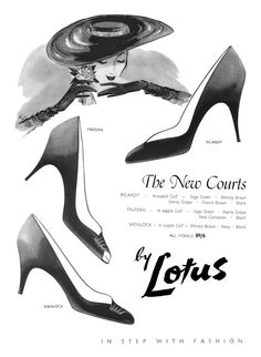 Lotus shoes ad, 1955. #vintage #1950s #shoes