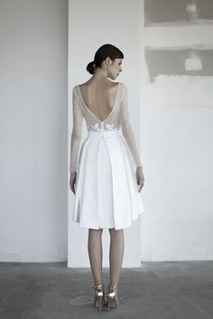 oui the label 2017 bridal long sleeves bateau neck sheer heavily embellished bodice romantic above the knee short wedding dress with pockets open v back bv -- OUI The Label 2017 Wedding Dresses Bridal Gown Styles, Bridal Style, Bridal Dresses, Wedding Gowns, Wedding Dress With Pockets, Tea Length Wedding Dress, Knee Length Dresses, Short Dresses, Marriage Dress