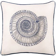 A trochus snail is intricately embroidered in navy blue against a linen background with navy blue piping trim.