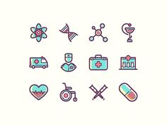 A small set including 12 coloured medical icons. Free AI, PSD and EPS released by Yegor Shustov.