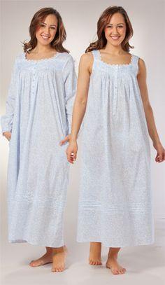Eileen West Peignoir - Sleeveless Cotton Nightgown and Robe Set in Dutch Shower