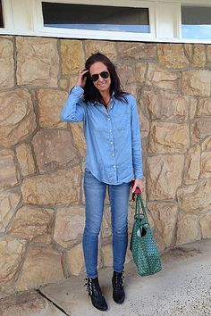 """""""On the school run . Wearing J Brand jeans, Seed Heritage chambray shirt (available at SHOP TheyAllHateUs), Toga Pulla boots & Goyard tote. Celebrity Beauty, Celebrity Style, Spring Summer Fashion, Autumn Winter Fashion, Goyard Tote, Toga Pulla, Seed Heritage, J Brand Jeans, Denim Fashion"""