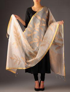 Ecru-Golden Silk Zari Jamdani Dupatta #available Online at Jaypore.com #enchanting #weaves #exquisite #Jamdani #silk #handwoven #nature inspired #motifs #shopnow