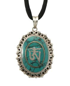 Sterling Silver And Turquoise Om Pendant