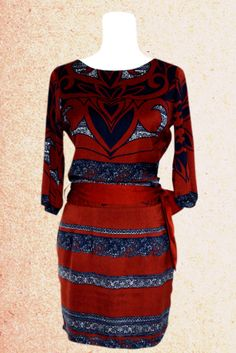 Round Collar Colour Block 3/4 Length Sleeve Print Design Loose Dress For Women