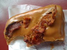 Maple-Bacon Doughnut?! WHAT?! A reason I will never be 100% vegetarian. Though I like vegetarian versions, sometimes I just want real bacon.