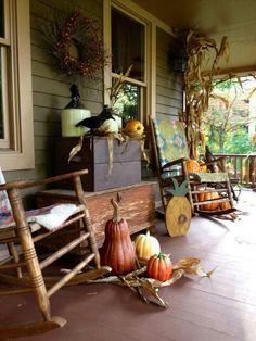 Porch decor ideas on a budget porch decorating, primitive fall Primitive Homes, Primitive Fall, Primitive Decor, Primitive Country, Home Porch, House With Porch, Shabby Chic, Art Design, Design Ideas