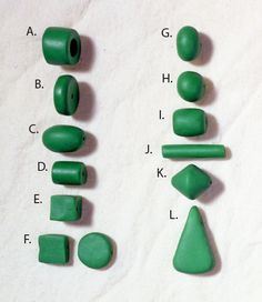 Clay Bead Basics. Bead Types: Bead Shapes A. Annular  B. Cylindrical Disk  C. Ellipsoid  D. Cylinder  E. Square  F. Tabular  G. Oblate H. Spherical I. Barrel J. Tube K. Bicone L. Pendant