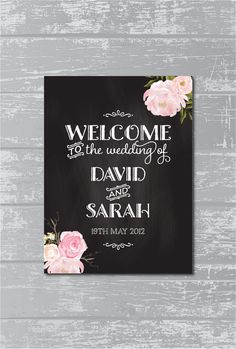Peony Flower Chalkboard Wedding Welcome Sign by CreativePapier