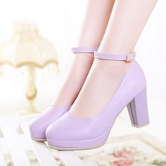 Material: Synthetic   Color(s): Purple, Pink, Blue, White  Size(s): US 4.5 ~ US 8 Heel Height: 8cm  Please allow 3-5 weeks for delivery.