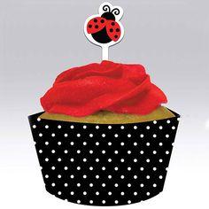 Cupcake-Schleifen & Picker-Set Marienkäfer
