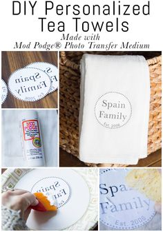 Learn how to make DIY personalized tea towels using Mod Podge Photo Transfer Medium! These would make a great gift for any occasion, or would just look beautiful in your own home! Mod Podge Photo Transfer, Personalized Towels, Towel Crafts, Diy Crafts, How To Make Diy, Kitchen Towels, Diy Kitchen, Diy Tea Towels, Dish Towels