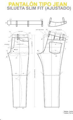 from Manual patronaje Tgo en diseño para la industria de la moda Garzon -كك Huila Mens Shirt Pattern, Pants Pattern, Sewing Jeans, Sewing Clothes, Dress Sewing Patterns, Clothing Patterns, Patterned Jeans, Men Trousers, Fashion Sewing