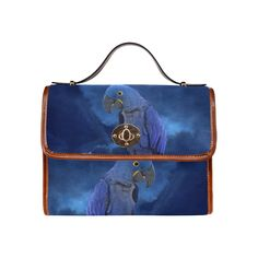 Hyacinth Macaw Waterproof Canvas Bag/All Over Print. FREE Shipping. #artsadd #bags #parrots