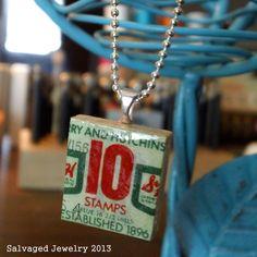 Handmade Repurposed Vintage S & H Green Stamp by SalvagedJewelry, $38.00
