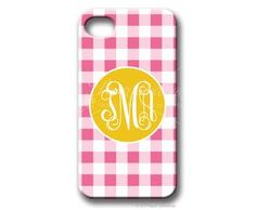 $49.95 Baby Pink/Hot Pink Gingham Personalized iphone cover from Paper Concierge