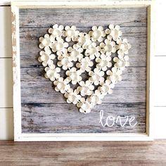 Wooden Flower Heart Love Wall Art