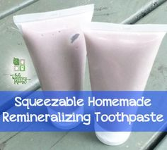 Wellness Mama--Squeezeable Homemade Remineralizing Toothpaste--This squeezable homemade toothpaste contains coconut oil, xylitol, calcium carbonate, trace minerals & essential oils for oral health and remineralization. Toothpaste Recipe, Homemade Toothpaste, Natural Toothpaste, Bentonite Clay Toothpaste, Coconut Oil Toothpaste, Homemade Soaps, Homemade Recipe, Natural Healing, Natural Beauty Products
