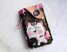 Garden Cat Mobile Phone Pouch-Samsung-HTC-LG-Nokia from Lily's Handmade - Desire 2 Handmade Gifts, Bags, Charms, Pouches, Cases, Purses by DaWanda.com