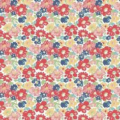 Vintage Happy 2 Red Floral Fabric by Lori Holt - Riley Blake Fabrics You Can't Go Wrong with a Vinta Vintage Floral Fabric, Vintage Fabrics, Vintage Housewife, Bee In My Bonnet, Red Fabric, Flower Fabric, Cotton Fabric, Hand Applique, Quilted Table Runners