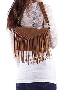 529a3228971f Shoes  HDE Women s PU Leather Hobo Fringe Crossbody Tassel Purse Vintage  Small Handbag