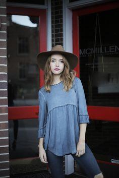The Natalie Peplum in Slate Blue