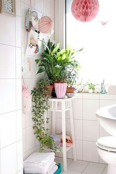 All white, pink accessories, lots of greenery