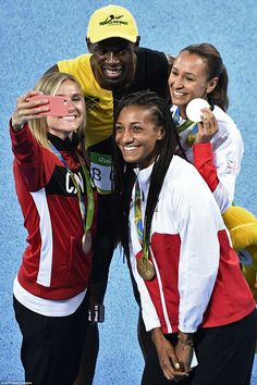 Bolt took a celebratory selfiewith heptathlon bronze medalist Brianne Theisen-Eaton, from Canada, silver medalist Jessica Ennis-Hill of Great Britain and gold medalist Nafissatou Thiam of Belgium