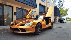 Gold Bronze Mercedes Benz SLR McLaren By Custom Wrap Design Awesome color for Supercar