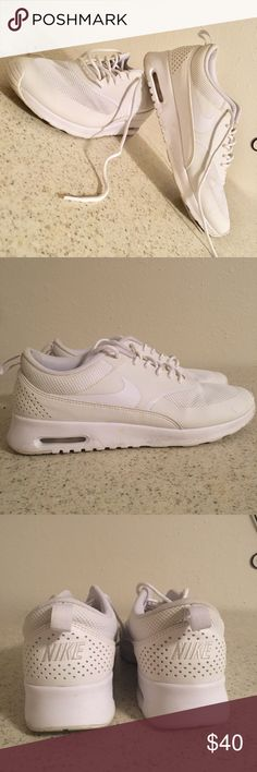 Size 9 Nike Air Max Thea off white Only worn twice. For some reason there is a little black scuff on the inside part of both heels (as shown in photo) but otherwise in basically new condition. Scuff could probably be washed out. Color is off-white Nike Shoes Athletic Shoes