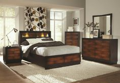 Coaster Rolwing California King Bed with Headboard Storage - Coaster Fine Furniture King Size Bedroom Furniture, King Size Bedroom Sets, Bed Furniture, Coaster Furniture, Wood Bedroom, Fine Furniture, Modern Bedroom, Modern Furniture, Master Bedroom