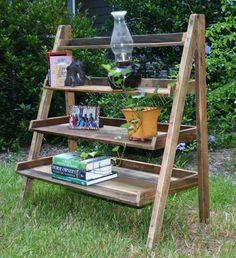 reclaimed wood ladder shelf , book shelf, floor standing. $225.00, via Etsy.