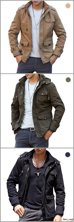 US$73.99 + Free Shipping. Mens Big Size Hooded Solid Color Multi-Pockets Biker Jacket Outdoor Casual Coat. US Size: S, M, L, XL, 2XL, 3XL. Color: Khaki, Black, Army Green. >>> To View Further, Visit Now.
