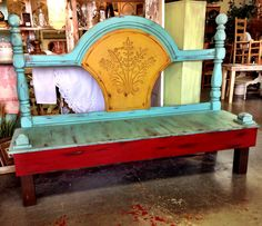 King size headboard bench. Painted with VM&D Furniture Paint. Santa Fe, Chili and Marigold. Dark Umber wax.