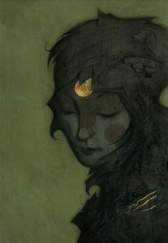 João Ruas , Dawn I , Acrylic and gold leaf on illustration board, 2010