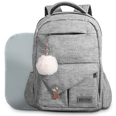 Baby Diaper Bag Backpack for Mom and Dad W/ Changing Pad & Cute Pompon Keychain: Fit Everything Inside! Grey Unisex Organizer, Large Waterproof Pack, Fits on Back, Stroller or as a Handheld Nappy Tote Diaper Bags Cute Backpacks For School, Cute Mini Backpacks, Grey Backpacks, Kids Backpacks, Nappy Changing Bags, Changing Pad, Baby Diaper Bags, Diaper Bag Backpack, School Bags For Girls
